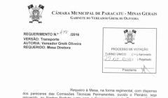 Divulgação de atos parlamentares - Mandato do Vereador Greik -  Publicação em 24/05/2016 - Transporte Publico Vista Alegre