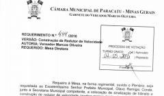 Divulgação de atos parlamentares - Mandato do Vereador Marcos Oliveira  -  Publicação em 24/05/2016 - Redutor de Velocidade São Sebastião
