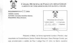 Divulgação de atos parlamentares - Mandato do Vereador Hamilton Batista -  Publicação em 24/05/2016
