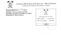 Divulgação de atos parlamentares - Mandato do Vereador Ze Maria do Paracatuzinho -  Publicação em 24/05/2016