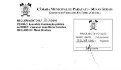 Divulgação de Atos Parlamentares - Mandato do Vereador José Maria do Paracatuzinho - Publicação em 24/06/2016